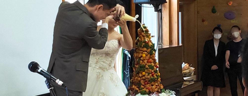 ケーキ入刀はから揚げタワーにマヨネーズをたらーんと