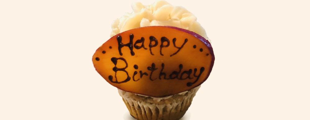 サプライズカップケーキ(バースデーケーキ)も、もちろんヴィーガン仕様で